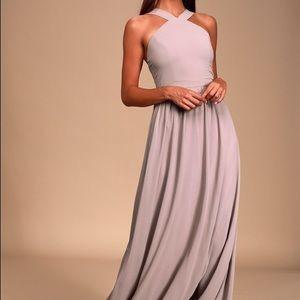 Lulu's Air of Romance Taupe Halter Maxi Dress
